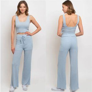 SKY BLUE CASUAL RIBBED LOUNGE WEAR